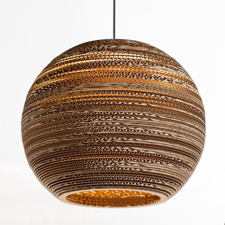 Medium sphere lampshade 12 made from recycled cardboard