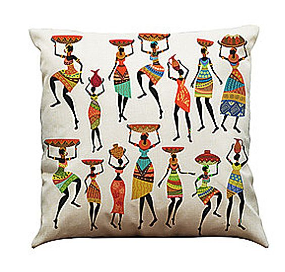 Set of 4 African Ladies Print Cushion Covers