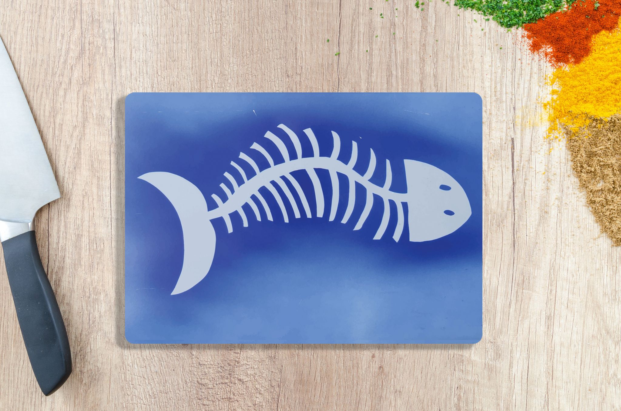 Tempered Glass Chopping Board with Fish Design