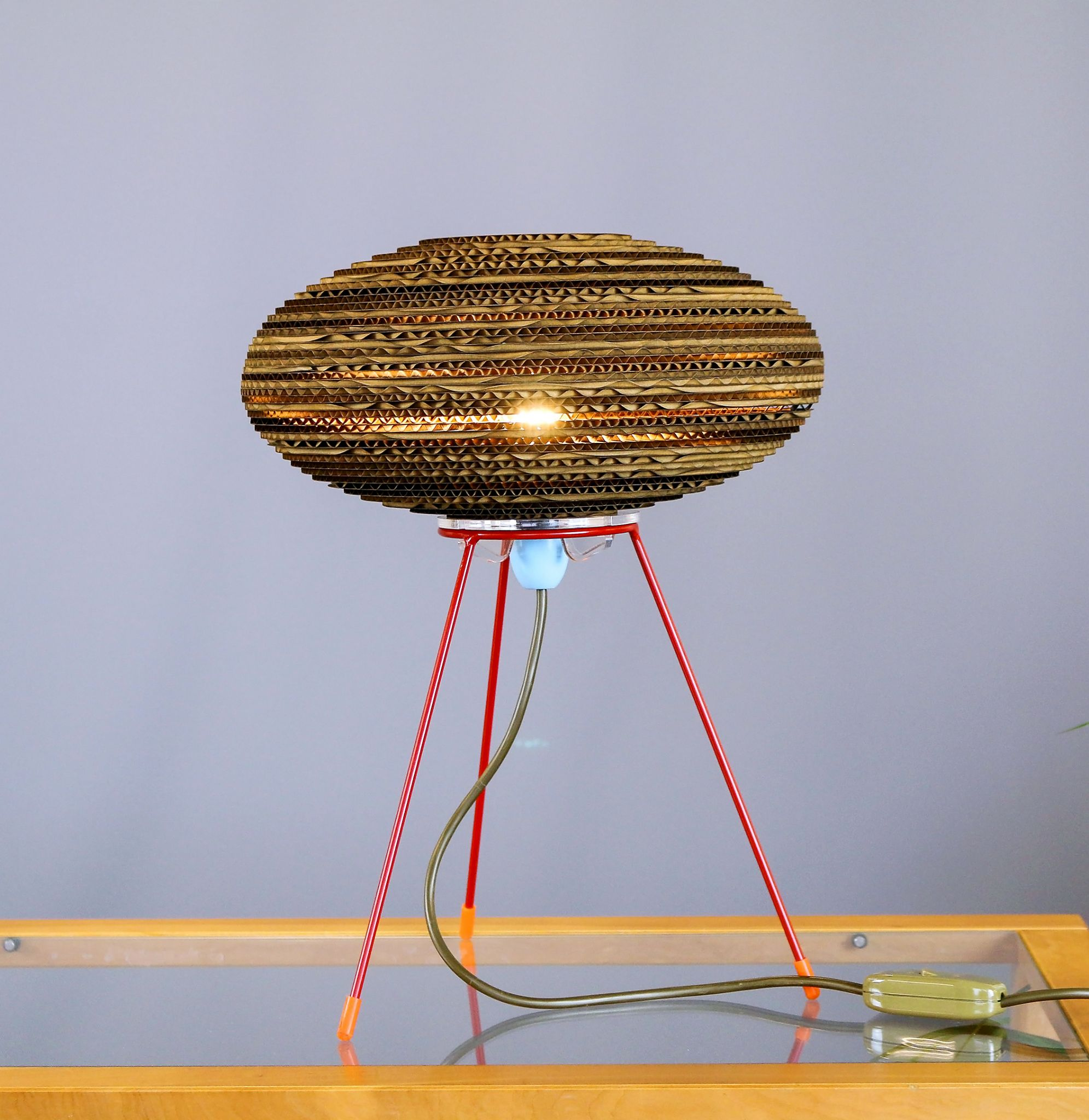 Ufo Side Lamp Made From Recycled Cardboard