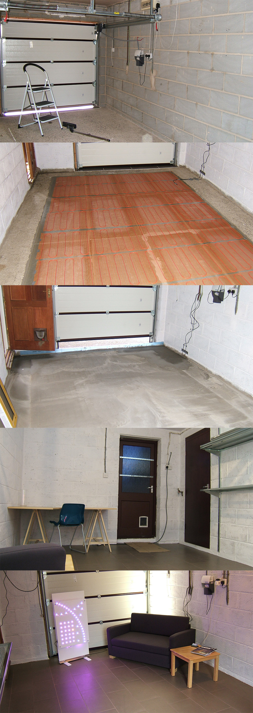 Garage with under floor heating