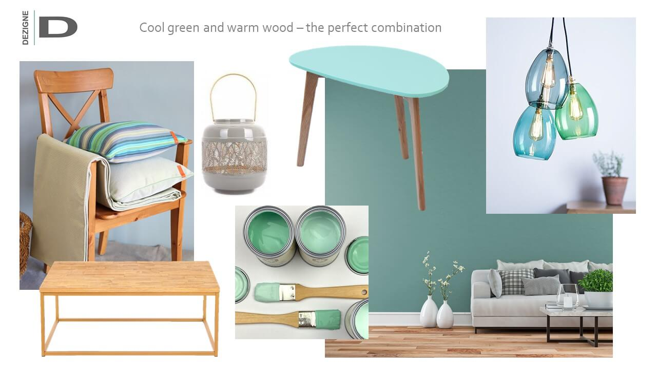 Cool green and warm wood